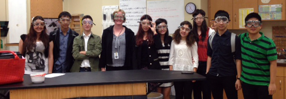 Ms. Clark with her AP Chemistry Class, dressed for success